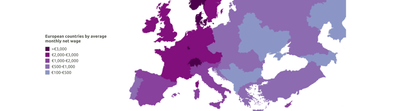 European countries by average monthly net wage