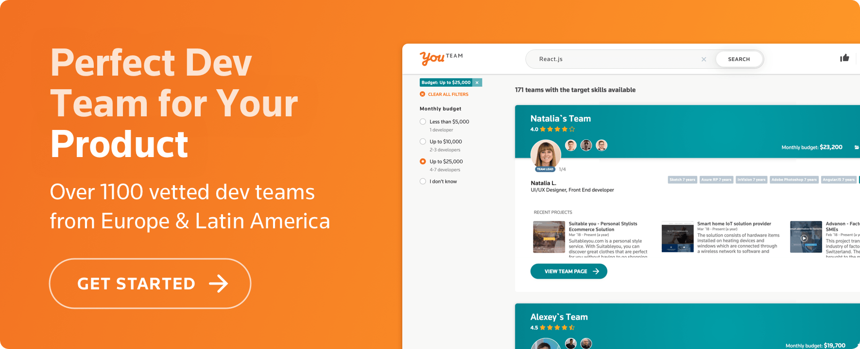 Over 1100 vetted dev teams from Europe & Latin America on YouTeam