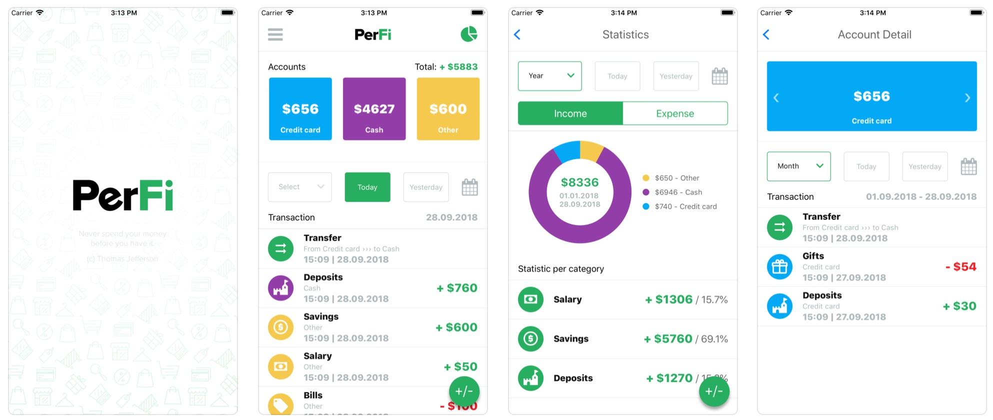 PerFi application preview